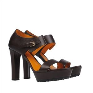 TODS DARK BROWN LEATHER SANDAL Womens sz 37